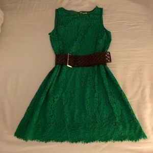 Mac Studio emerald green shift dress